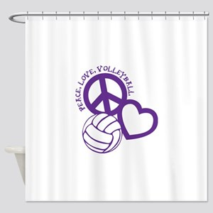 peace love volleyball, purple top,  Shower Curtain