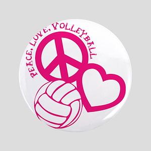 "peace love volleyball, melon top, roug 3.5"" Button"