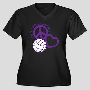 peace love v Women's Plus Size Dark V-Neck T-Shirt