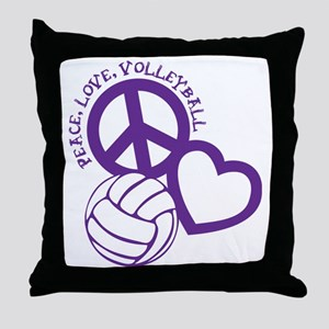 peace love volleyball, purple top, ro Throw Pillow