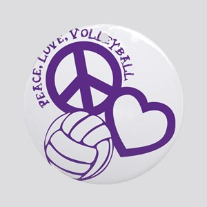 peace love volleyball, purple top,  Round Ornament