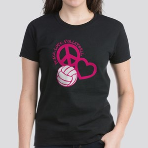 peace love volleyball, melon  Women's Dark T-Shirt