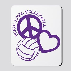 peace love volleyball, purple top, rough Mousepad