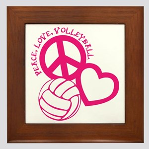 peace love volleyball, melon top, roug Framed Tile