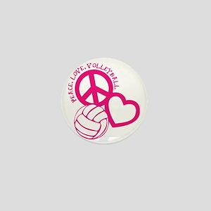 peace love volleyball, melon top, roug Mini Button