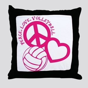 peace love volleyball, melon top, rou Throw Pillow