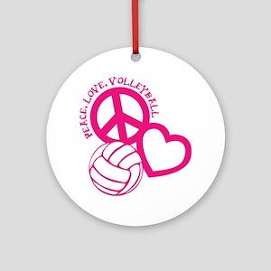 peace love volleyball, melon top, r Round Ornament