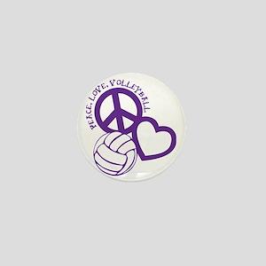peace love volleyball, purple top, rou Mini Button