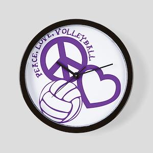 peace love volleyball, purple top, roug Wall Clock