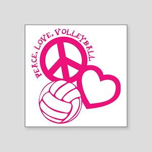 """peace love volleyball, melo Square Sticker 3"""" x 3"""""""