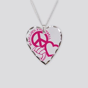 peace love volleyball, melon  Necklace Heart Charm