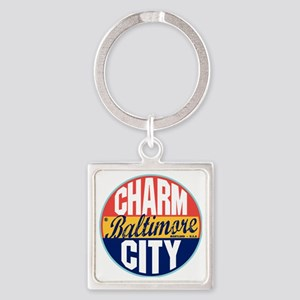 Baltimore Vintage Label W Square Keychain