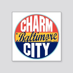 "Baltimore Vintage Label W Square Sticker 3"" x 3"""