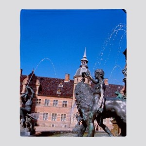 Castle fountain. Home of Copenhagen' Throw Blanket