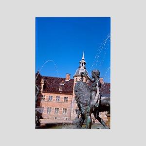 Castle fountain. Home of Copenhag Rectangle Magnet