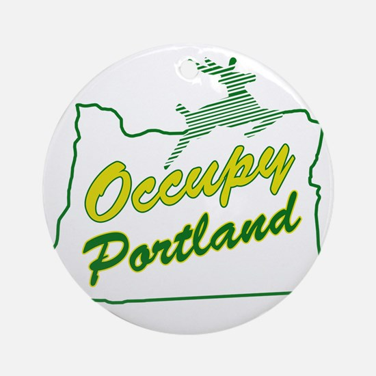 Occupy Portland Round Ornament