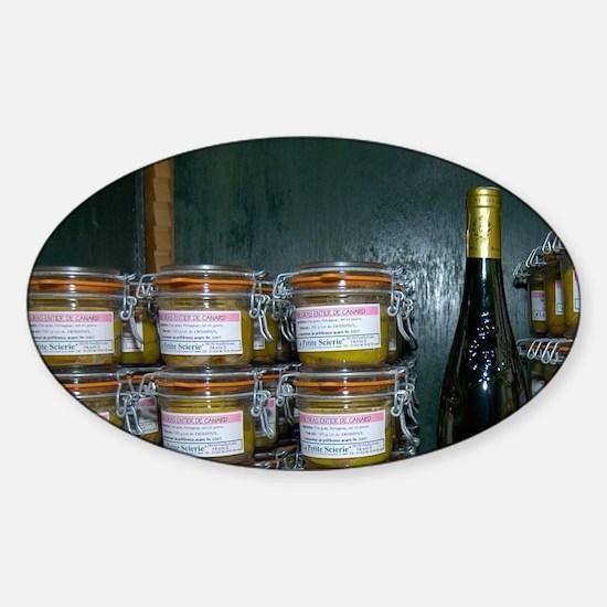 France, Paris, foie gras and wine i Sticker (Oval)