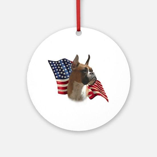Boxer Flag Ornament (Round)