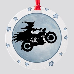 witch-biker-moon-T Round Ornament