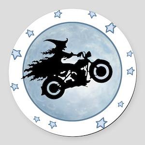 witch-biker-moon-T Round Car Magnet