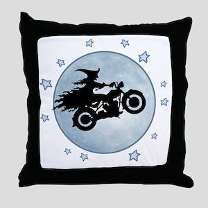 witch-biker-moon-T Throw Pillow