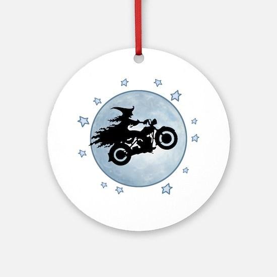 witch-biker-moon-T Round Ornament