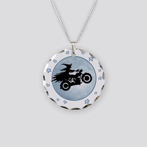 witch-biker-moon-T Necklace Circle Charm