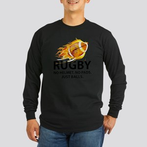 fireRugbyBalls1 Long Sleeve Dark T-Shirt