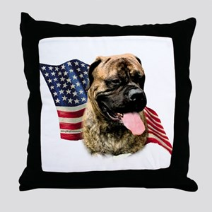 Bullmastiff Flag Throw Pillow
