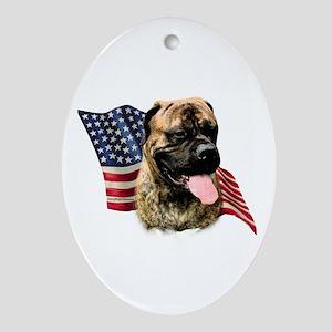 Bullmastiff Flag Oval Ornament