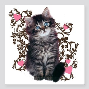 "9976452442Floralkitty Square Car Magnet 3"" x 3"""