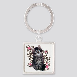 9976452442Floralkitty Square Keychain