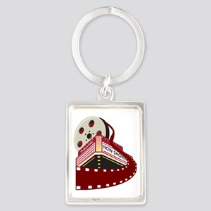 theater cinema film reel rolling Portrait Keychain