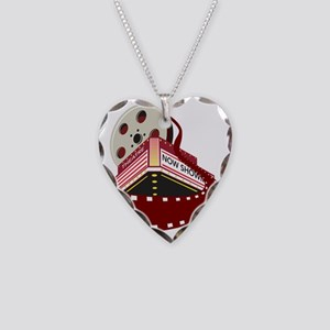 theater cinema film reel roll Necklace Heart Charm