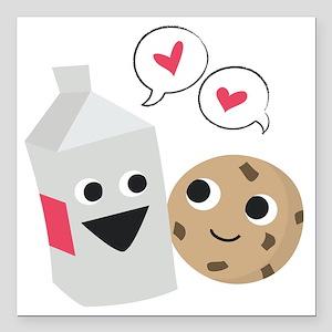 "Milk  Cookie Love Square Car Magnet 3"" x 3"""