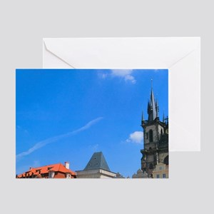The Old Town Square and the towers o Greeting Card