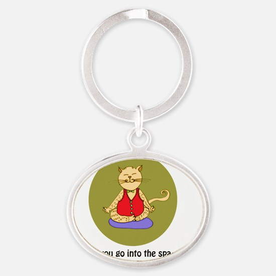 Yoga Cat- Diffused- Back Oval Keychain