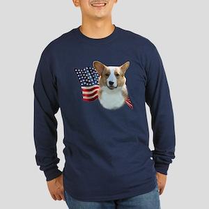 Corgi Flag Long Sleeve Dark T-Shirt