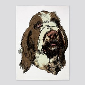 Brown  White Spinone Headpiece 5'x7'Area Rug