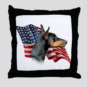 Doberman Flag Throw Pillow