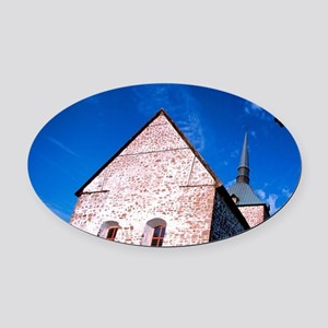 13th-century country church exteri Oval Car Magnet