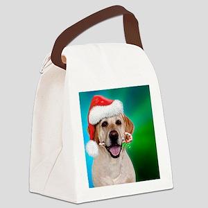 yellow lab-santa-blue green bgrou Canvas Lunch Bag