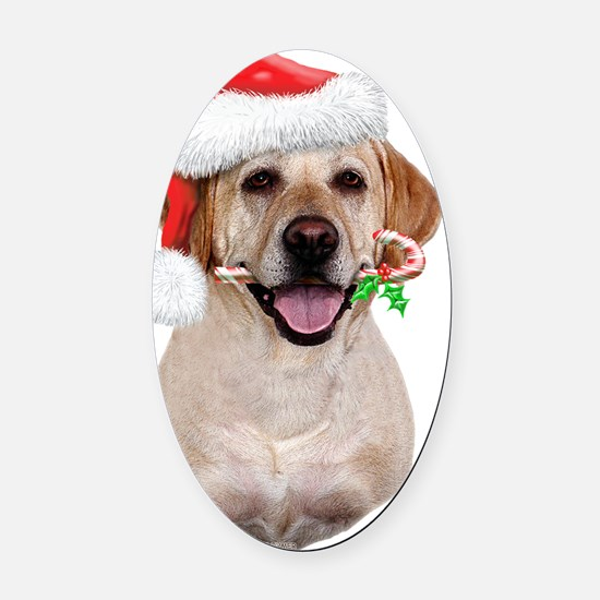 Yellow Lab-Christmas Oval Car Magnet