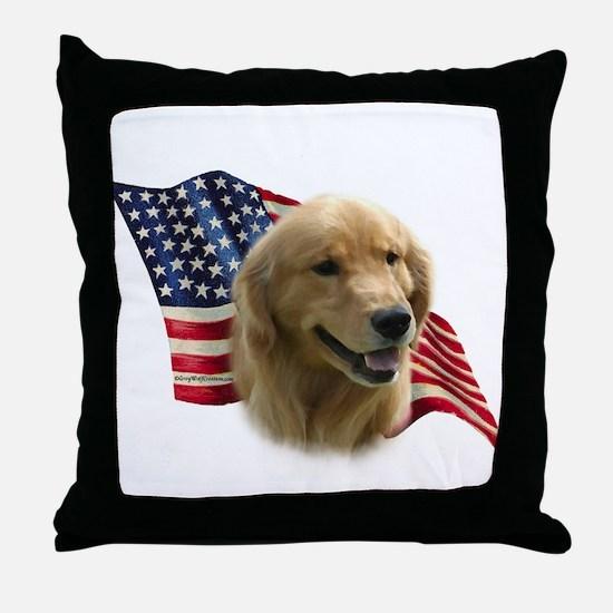 Golden Flag Throw Pillow