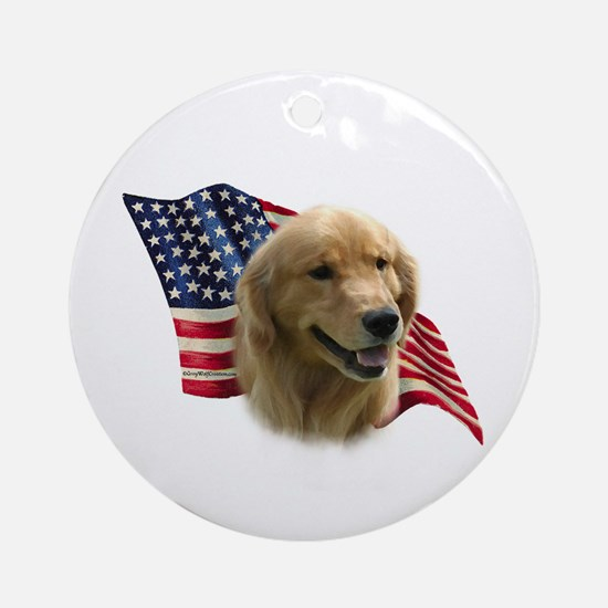 Golden Flag Ornament (Round)