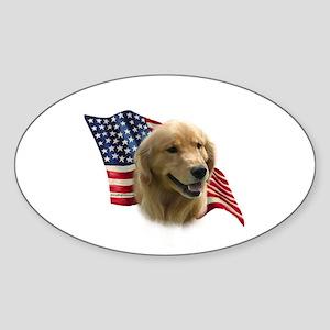 Golden Flag Oval Sticker