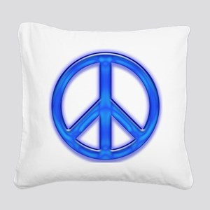 peaceGlowBlue Square Canvas Pillow