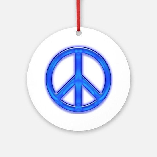 peaceGlowBlue Round Ornament