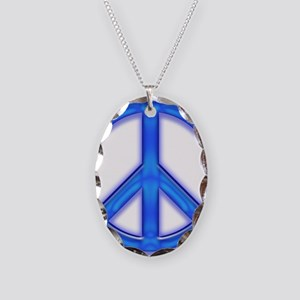 peaceGlowBlue Necklace Oval Charm