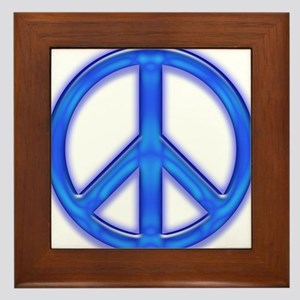 peaceGlowBlue Framed Tile